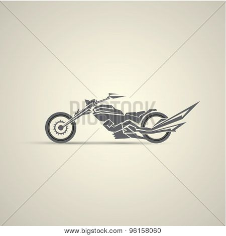 vintage motorcycle label, badge, design element. abstract motorcycle logo poster