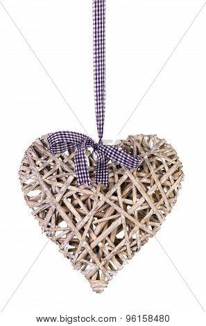 Rattan heart isolated.
