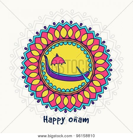 Elegant greeting card design decorated with beautiful floral pattern and snake boat on grey background for South Indian festival, Happy Onam celebration.