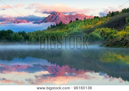 Autumn dawn at Oxbow Bend on the Snake River in Wyoming poster