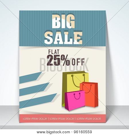 Big sale flyer with flat 25% off with shopping bags, place holder and mailer.