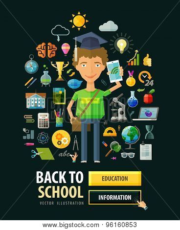 Back to school vector logo design template. Education, schooling or science icons