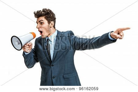 Active Manager Shouting Into A Megaphone And Finger Pointing