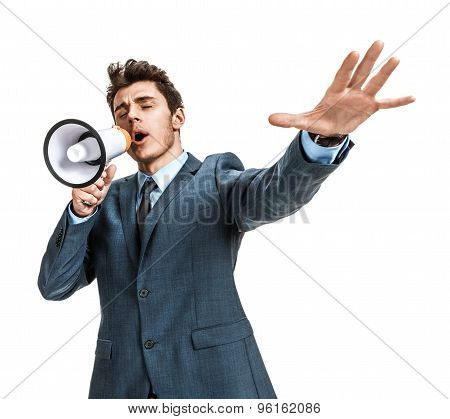 Frustrated Businessman Yelling Through A Megaphone