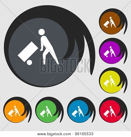 Loader Icon Sign. Symbol On Eight Colored Buttons. Vector