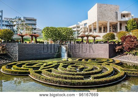 LOS ANGELES, USA - JUNE, 2015: The Central Garden at the Getty Center. Usa