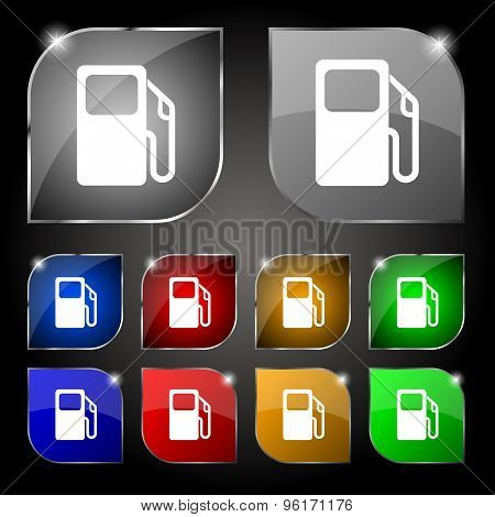 Auto Gas Station Icon Sign. Set Of Ten Colorful Buttons With Glare. Vector