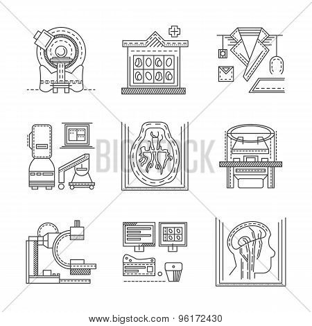 MRI flat line vector icons