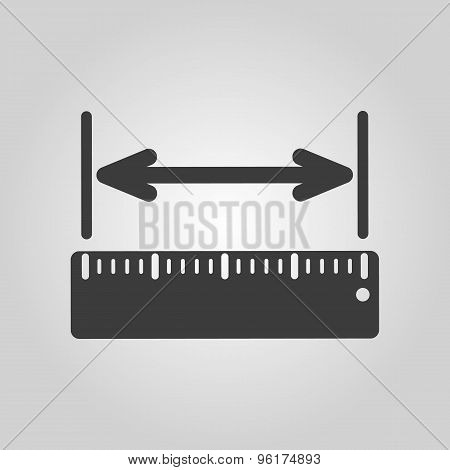 The width measurement icon. Ruler and straightedge, scale symbol. Flat