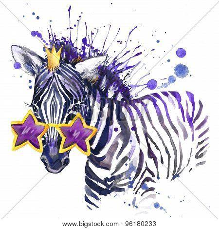 little zebra T-shirt graphics. little zebra illustration with splash watercolor textured  backgroun