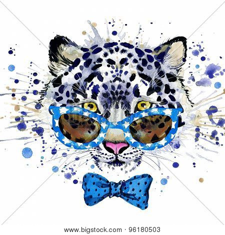 white leopard T-shirt graphics. cool leopard illustration with splash watercolor textured  backgrou