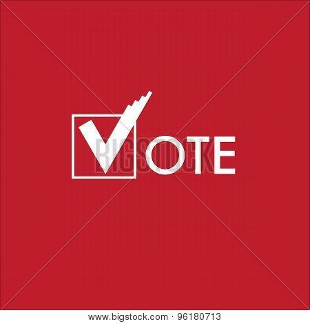 Voting Symbols Vector Design on Red Background poster