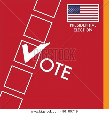 Vote Sign With Checkbox on Red Background. USA Presidential Election Vector Design. poster