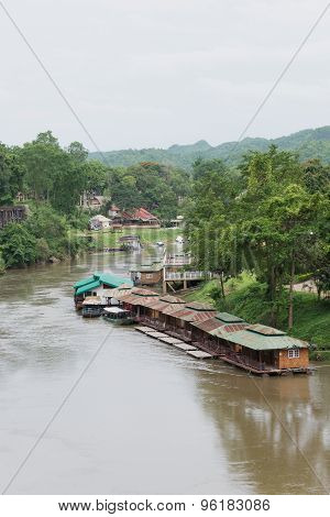 The Floating Houses In The River Of Thailand