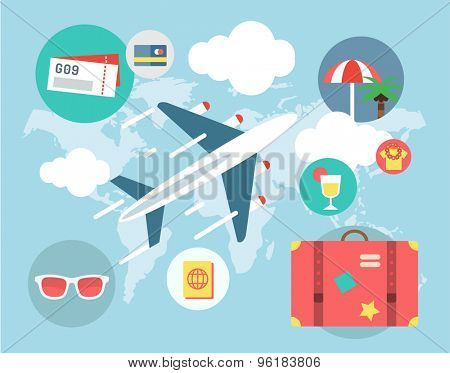 Travel by Plane vector illustration. Plane, Baggage and Glasses symbols. Stock design elements