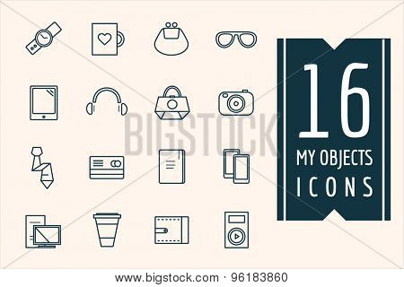 Personal objects vector icons set. Mobile, electric and technic symbols. Stocks design elements.