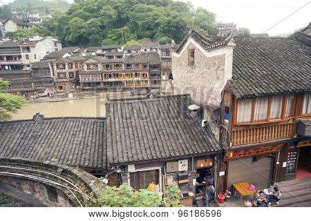 Top View from the wall Of Fenghuang Ancient City.