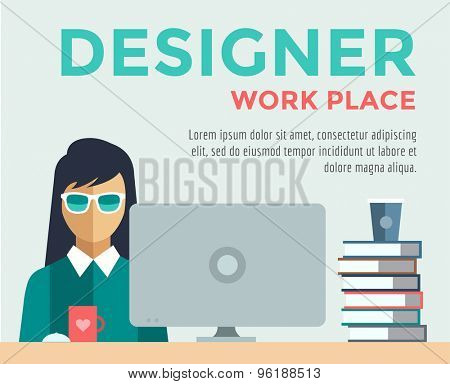 Designer on work place vector logo illustration. Objects, office and creative symbols. Stock design elements.