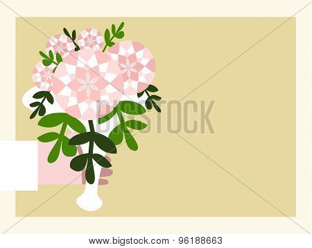 Hand in white sleeve with pink white floral bouquet