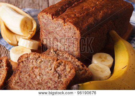 Homemade Banana Bread Close-up On The Table. Horizontal