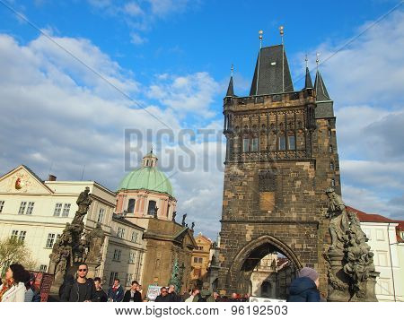 Prague, Czech Republic - April 18, 2015: Tourists On The Karluv Most