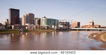 Dayton Ohio Downtown City Skyline Great Miami River