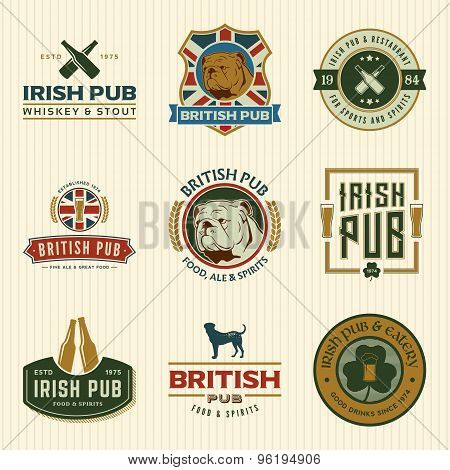 Vector Set Of Irish And British Pub Labels