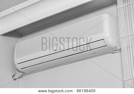 Air conditioner indoor unit mounted on home wall poster