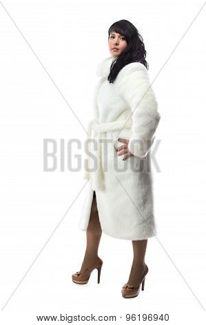 Photo of pudgy woman in long white coat