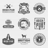 vector set of irish and british pub labels badges and design elements poster