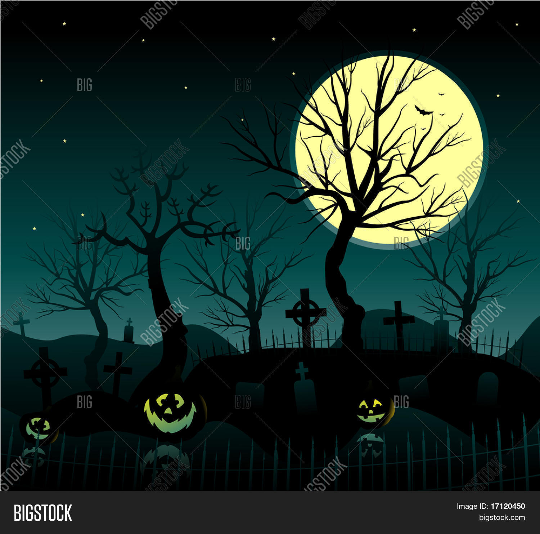 halloween cemetery vector & photo (free trial) | bigstock
