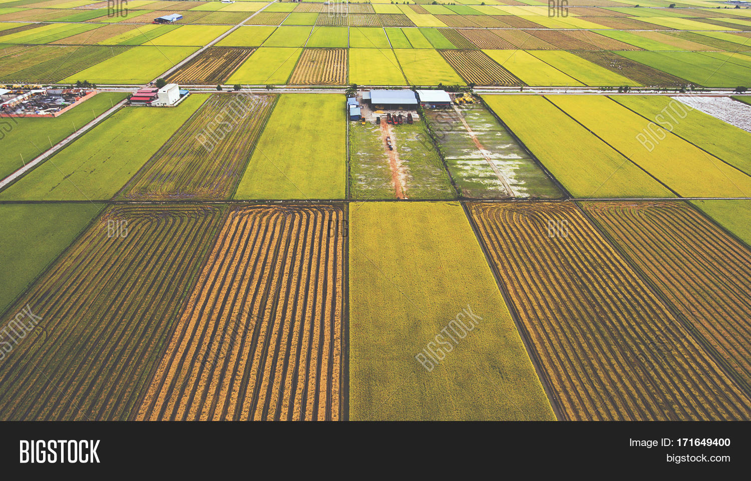 Aerial Photo From Flying Drone Of Farm Buildings In Countryside Near Green Fields With Sown Land