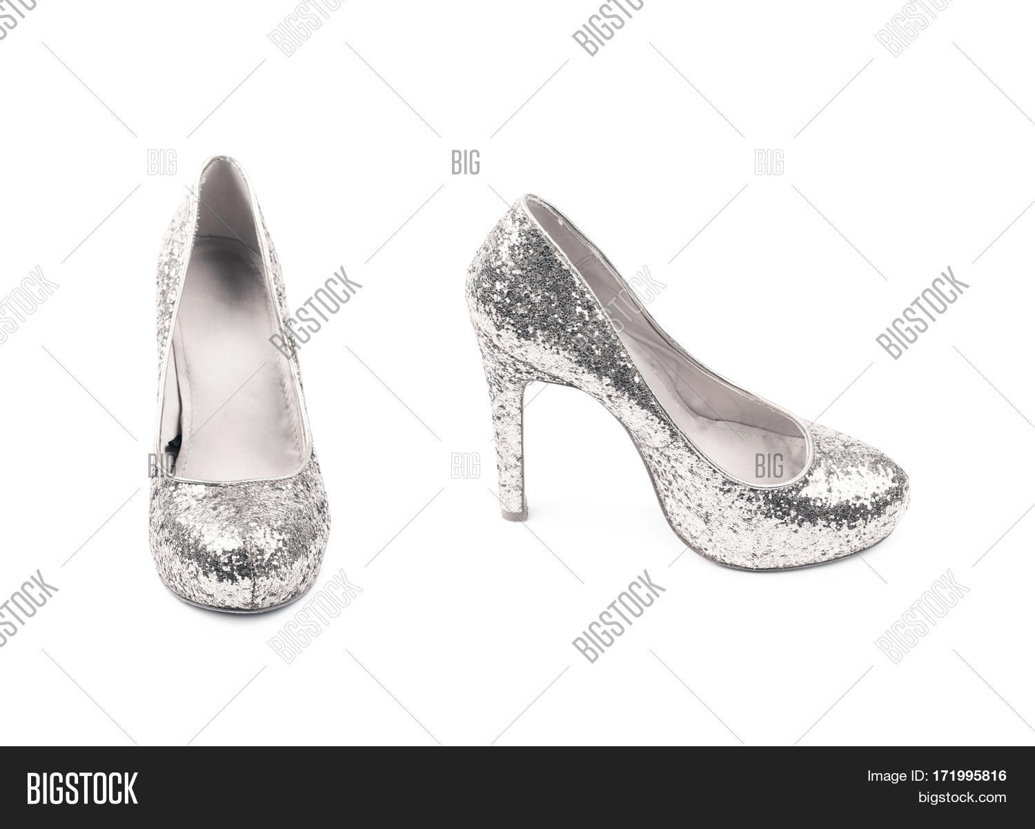 5c89fa4f946 Shining silver high-heeled footwear shoe isolated over the white background