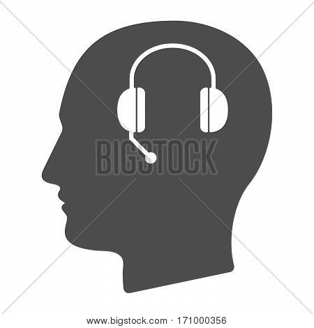 Isolated Male Head With  A Hands Free Phone Device