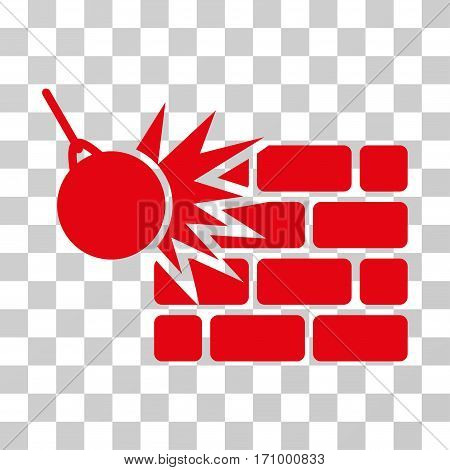 Destruction icon. Vector illustration style is flat iconic symbol red color transparent background. Designed for web and software interfaces.