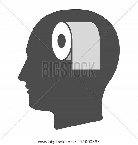 Isolated Male Head With A Toilet Paper Roll