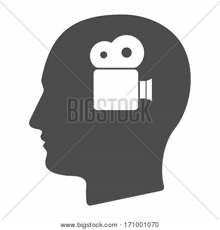 Isolated Male Head With A Film Camera