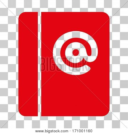 Emails icon. Vector illustration style is flat iconic symbol red color transparent background. Designed for web and software interfaces.
