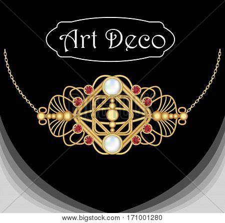 Art deco jewel, Vintage gold necklace. Pendant in victorian style with ruby and pearl.  Filigree gold jewel. Antiquarian jewelry. Filigree gold necklace. Ancient vector object.