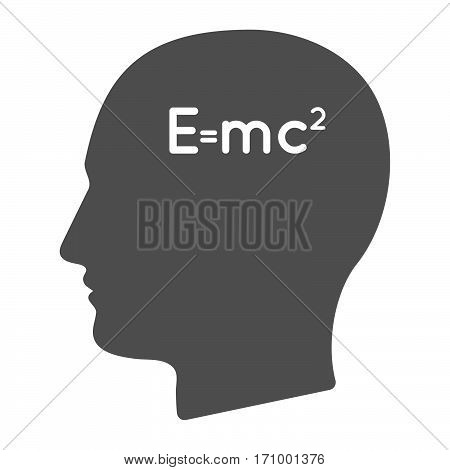 Isolated Male Head With The Theory Of Relativity Formula