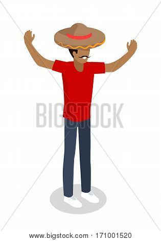 Shop seller in big sombrero hat isolated. Street food vendor. Mexican food salesman. Food restaurant worker. Human market seller. Shop worker, chief face. Delivery man icon. Vector illustration