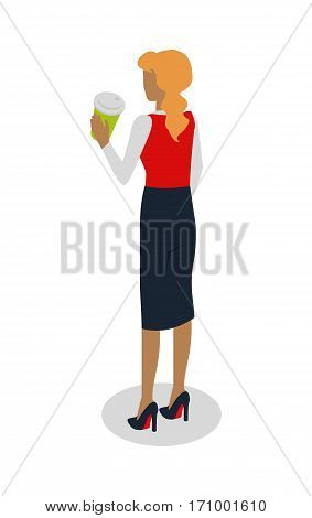 Street food buyer isolated. Woman in expensive suit drinks coffee. Back view. Cartoon character with hot beverage. Concept illustration for street food consumption. Quick snack. Fast food. Vector