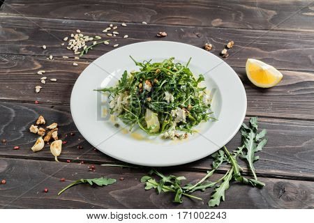 salad with cheese Dor Blue and pickled pear