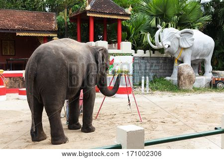 Small elephant painting picture with paint brush in Thailand.