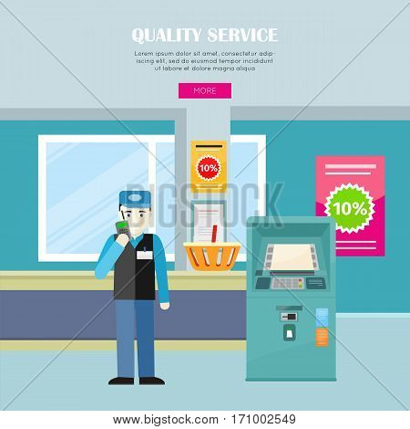 Quality service in supermarket vector banner. Flat style. Security with receiver at the entrance to the store, baskets for goods, announcement of discounts and ATM illustrations for web page design.