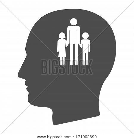 Isolated Male Head With A Male Single Parent Family Pictogram