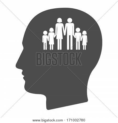 Isolated Male Head With A Large Family  Pictogram