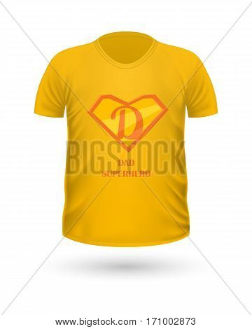Dad superhero T-shirt front view isolated. Orange t-shirt. Realistic t-shirt vector in flat. Fathers day celebration concept. Casual men wear. Cotton t-shirt unisex polo outfit. Fashionable apparel.
