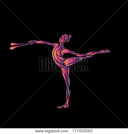 Creative silhouette of gymnastic girl with clubs. Art gymnastics yoga girl, vector illustration or banner template in trendy abstract colorful neon waves style on black background, eps8