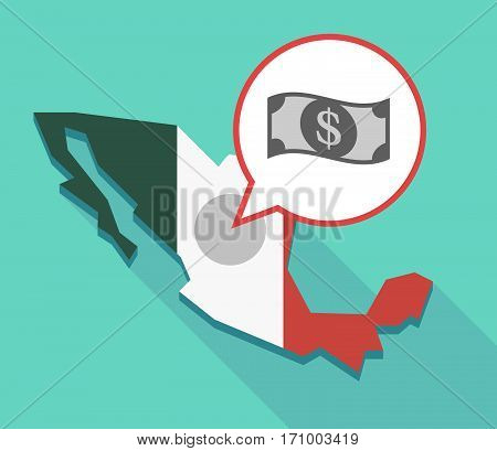 Long Shadow Mexico Map With A Dollar Bank Note
